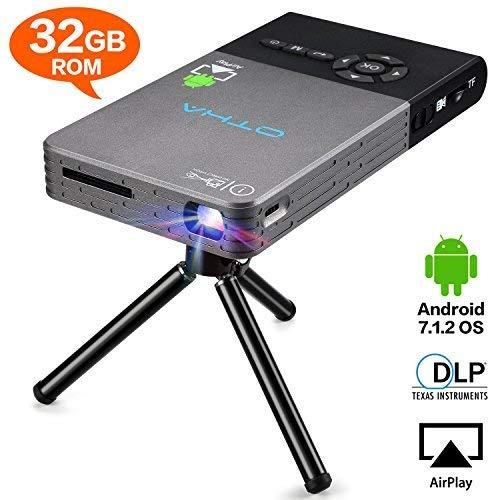 Mini Beamer,32GB Android 7.1 Projektor mit Stativ Fernbedienung, 120 Zoll Wireless Home Theater Projektoren mit Auto Keystone-Korrektur HDMI-Eingang