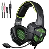 SADES SA818 Xbox One PS4 PC Gaming Headset Cuffie Gaming Over Ear con microfono per PS4, PS4 PRO, Xbox One, Xbox One S, laptop Mac Tablet iPhone iPad iPod (nero e verde)