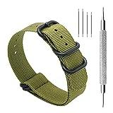 Cinturino Orologio 20mm 22mm Premium Ballistic Cinturino Nylon Militare Cinturino Nato 5 Anello Nero Zulu Cinturino con Bar Primavera Link Pin Remover Strumento (22mm, Army Green)