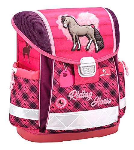 Belmil Ergonomischer Schulranzen Mädchen 1. klasse 2. klasse 3. klasse - Super Leichte 900-960 g/Grundschule/Pferd Horse/Pink (403-13 Riding Horse)