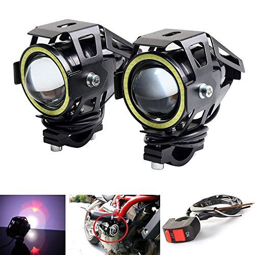 SLCSL Motorrad Scheinwerfer Led U7 DRL Nebel Fahren Lauflicht mit Engel Augen Lichter Ring Frontscheinwerfer Strobe Flashing Weißes Licht und Schalter (2 STÜCKE, Weiß Halo)