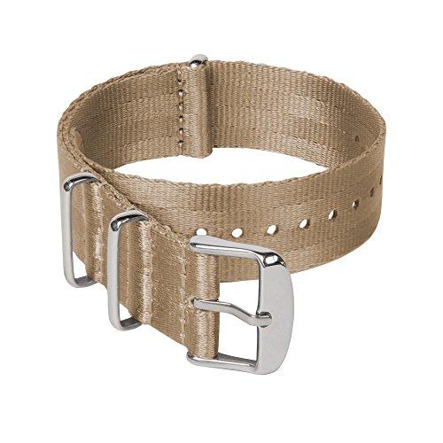 Archer Watch Straps   Cinturini NATO in nylon di altissima qualità stile cintura di sicurezza   Cinturini di ricambio resistenti tipo militare   Kaki/Acciaio inox, 20mm
