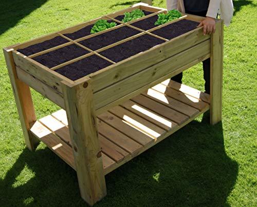 Tavolo da coltura, orto urbano con vassoio e divisori, 80 x 120 x 80 cm