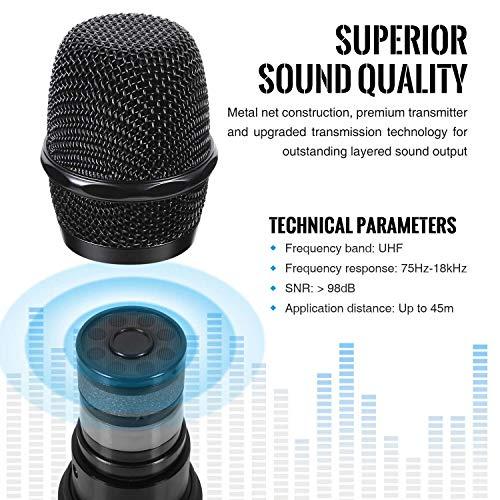 """TONOR Microphone sans Fil 25 Canaux UHF, avec Mini Récepteur Portable Sortie 1/4"""", pour Réunion d'Affaire/Maison/Karaoké/Église, Argent 7"""