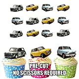 Vintage Classic Mini Car Mix Cake Decorations - 12 Edible Wafer Cup Cake Toppers