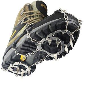 YUEDGE 18 Dientes Garras Acero Inoxidable Cadena Crampones Antideslizante Zapatos Cover para Camping y Alpinismo en Esquí Hielo Nieve Senderismo al Aire Libre 2