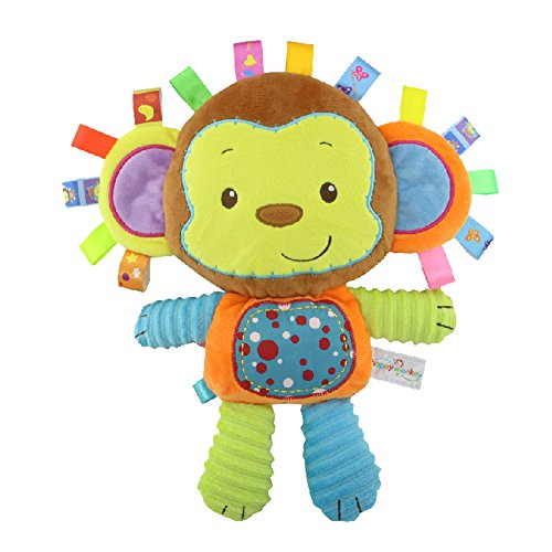 Inchant Soft Monkey Taggy Toy, Baby Sensory Toy, Gifts for Newborn Baby, Kids, Lovey Soft Toy, Baby taggy Toy