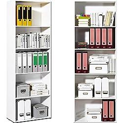 Standregal Bücherregal weiß TYP 73012/03 - Wandregal Aufbewahrungsregal Regal