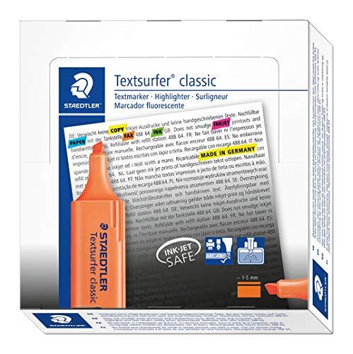 Staedtler 364-4 Textsurfer classic Textmarker, Keilspitze, circa 1-5 mm, 10 Stück im Kartonetui, orange