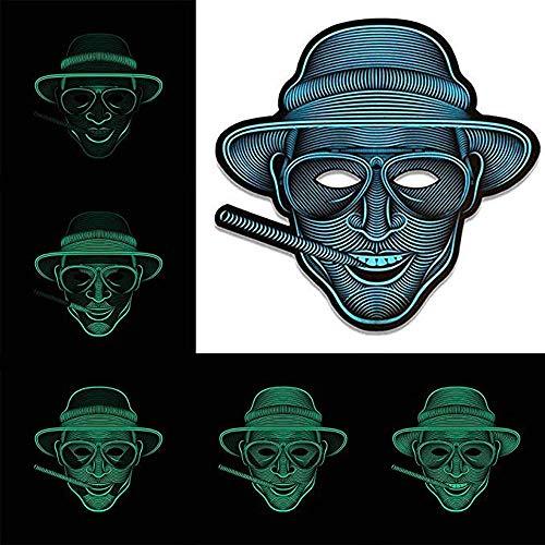 JCT LED Halloween Maske Sound Activated Masks Soundaktiviert Maske Musik Sprachsteuerung Glow in Dark für Festival, Cosplay, Party, Halloween Tanz Rave Geschenk Kostüm Requisiten (Duke)