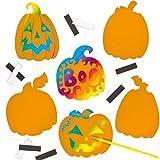 Pumpkin Scratch Art Magnets for Children to Create Halloween Decorations (Pack of 12)