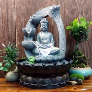 SPYXGS Artesanías del Sudeste Asiático Modelos Creativos Estatua De Buda Resina Agua Adornos Agua Paisaje Reclutar Propiedad Fuente 3