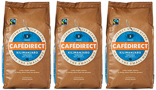 Cafédirect Kilimanjaro coffee beans (a blackcurrant sweetness, bright, complex flavour coffee with aromas of fresh fruit and petals)