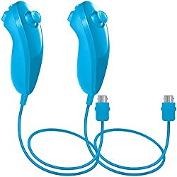 Nunchuck Controlador Gamepad para Nintendo Wii U, AFUNTA 2 Packs Reemplazo Mando para WII U Videojuego - Azul claro