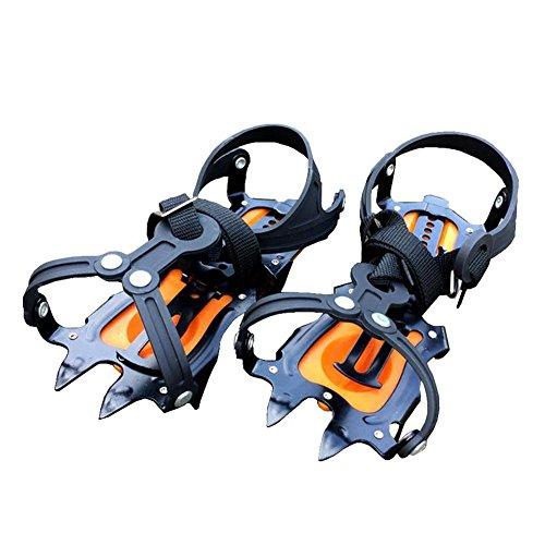 Baisde Crampones de Hielo 10 Garras de Dientes Garras de tracción Ajustable Zapatos Antideslizantes Cubierta para Nieve de esquí al Aire Libre Senderismo Escalada, Orange