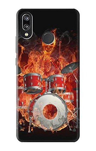 Innovedesire Skull Drum Fire Rock Case Cover Custodia per Huawei P20 Lite