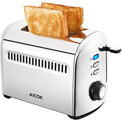 Aicok Tostapane, Tostapane per Toast, 2 Fette Tostapane con 7 Livelli Tostatura con Espulsione...