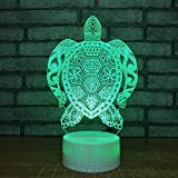 Tortoise Visual 3D Led Night Light Lovely 7 Cambia colore 3D Lampada Decorazioni natalizie Regalo per Baby Room Lights Commercio all'ingrosso