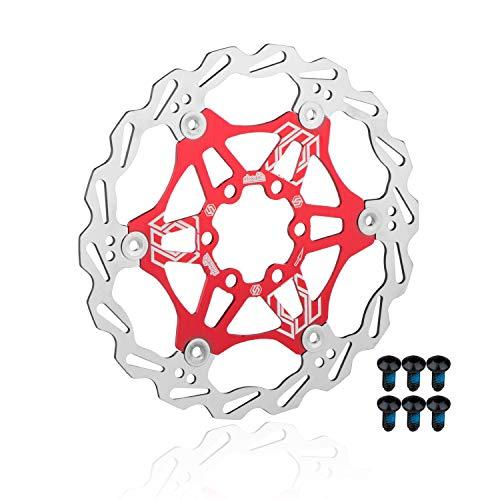 EASTERN POWER Disco Freno, 180 mm Freno a Disco, Flottante Disco Freno Rotore per Shimano/Sram/Avid/Hayes/Magura Mountain Bike MTB Bicicletta BMX Bici, Rosso (Include 6 Viti)