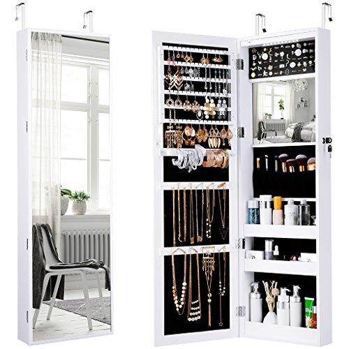 LANGRIA Schmuckschrank Hängender Spiegelschrank mit 10 LED-Leuchten, 5 Regale Aufbewahrung für Schmuck und Kosmetik (Weiß) - 2