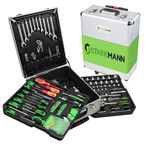 STARKMANN Greenline Premium Set di attrezzi in valigetta trolley con serratura, 399 pezzi, chiavi a...