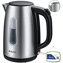 Aicok Wasserkocher Edelstahl Elektrischer Wasserkocher, Schnellwasserkocher, Automatische Abschaltung und kochendem Trockenschutz, Polierte und Kabellose Teekanne, 2200 watt, 1.7L, Silber