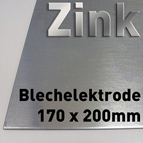 Zink-Blech 200 x 170 mm, Reinzink, als Anode/Elektrode (20 x 17 cm) für Zinkelektrolyt/Galvanik, Verzinken