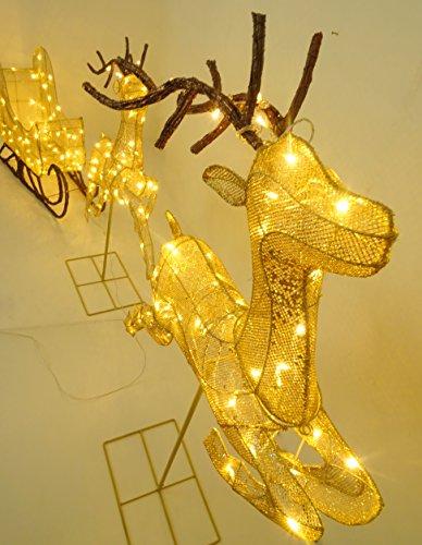 Christmas Concepts® 132cm (52″) Allumer LED Bronze Briller Rennes avec  Traîneau Décoration de Noël de Luxe – Jardin Intérieur / Extérieur ...
