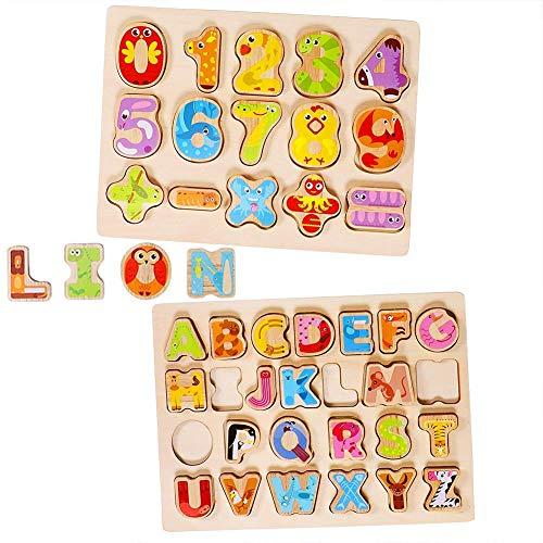 Lewo Puzzle di legno Numero di alfabeto Giochi da tavolo Apprendimento dei giocattoli educativi del...