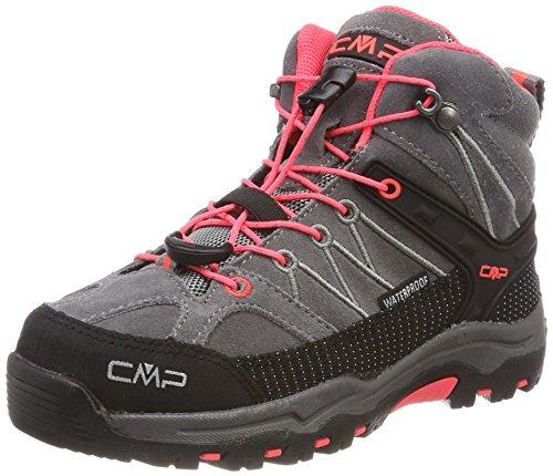CMP Rigel, Stivali da Escursionismo Alti Unisex – Bambini, Grigio (Grey-Red Fluo), 33