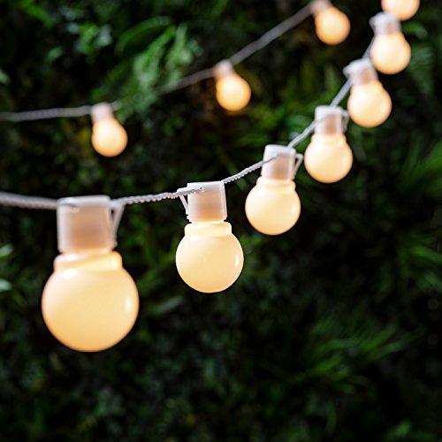 Catena di 30 luci LED bianco caldo a forma di lampadina di Lights4fun