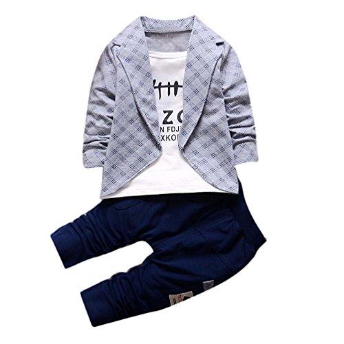 Bekleidung Longra 2pcs Kleinkind Baby Jungen Kinder Shirt Tops + Lange Hosen Kleidung Outfits Gentleman Jungen Kleidung Set(1-4Jahre) (80CM 1Jahre, Gray)