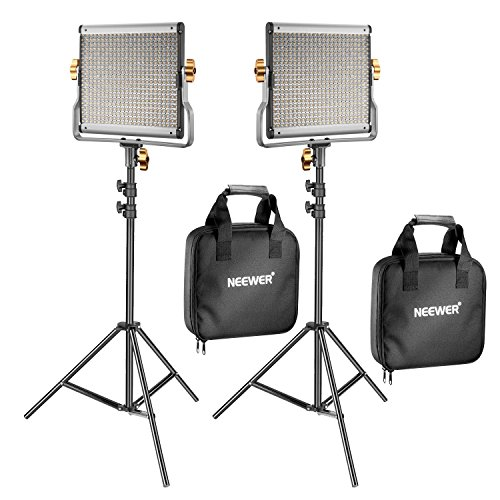 Neewer 2 Kit d'Illuminazione Luce 480 LED Bicolore Dimmerabile & Cavalletto: Faretto LED...
