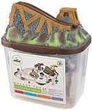 KidKraft 17805 Circuit de train en bois Bucket Top Construction, jouet enfant incluant 61 pièces
