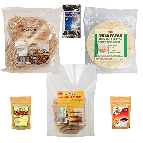 SNACKIS Soya Combo (Coffee, Noodles, Multigrain Cookies, Roasted Nuts, Papad and Instant Papad and Instant) -One Pack Each 4