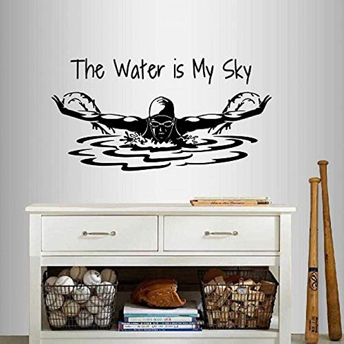 SLQUIET Adesivi murali Fai da Te Decalcomania del Vinile The Water is My Sky Frase Citazione Nuoto...