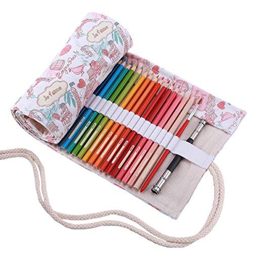 Amoyie - Tela wrap per 36 matite colorate, cassa del supporto di matita viag portamatite...