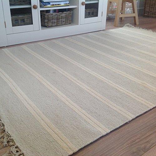 Cotone Naturale e Grigio Bianco, a Strisce di Iuta Tappeto 120cm x 180cm