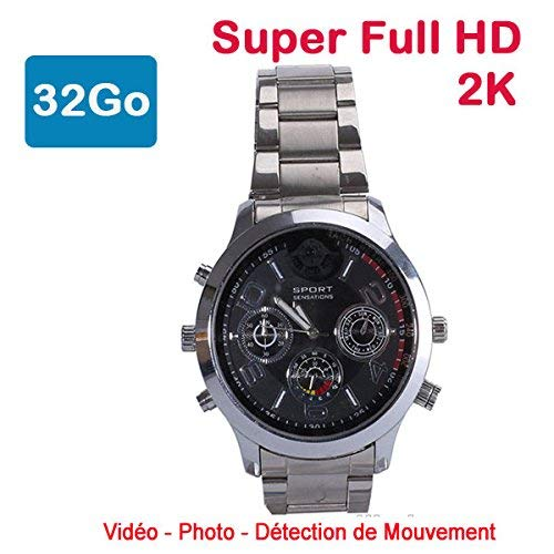 Cyber Express Electronics - Montre Mini caméra Espion 32 Go 2K Super Full HD 2304 x 1296p Détection de Mouvement CEL-DWF-74S-32 22