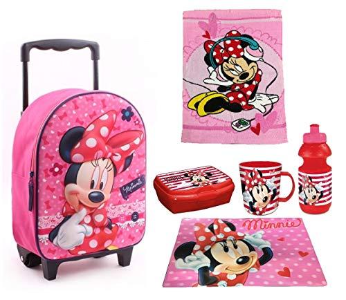 Minnie Mouse Topolina Set Zainetto Zaino Trolley, Asciugamano,Box Merrenda, Borraccia , Tovaglia...