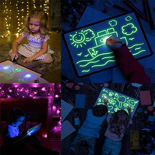 CBCA Doodle Drawing Mat Disegna con Light Fun e Drawing Board Magic Pen, Giocattoli educativi...