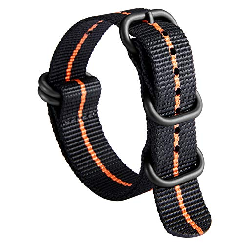 NATO Zulu Watch Strap Thick G10 Premium Ballistic Nylon cinturini per orologi da uomo 18mm 20mm 22mm 24mm con militari Heavy Duty 5 anelli Fibbia in acciaio inox