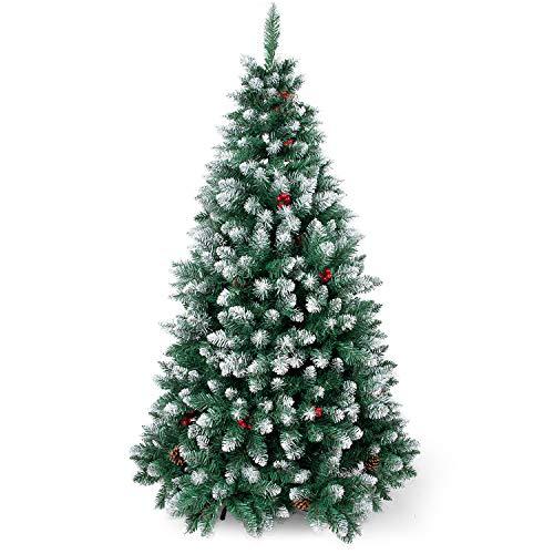 SunJas - Albero di Natale Artificiale con pigne, 120/150/180/210 cm, Punte Appuntite e Abete Artificiale con Supporto in Metallo, Albero di Natale di Alta qualità, pigne (120CM)
