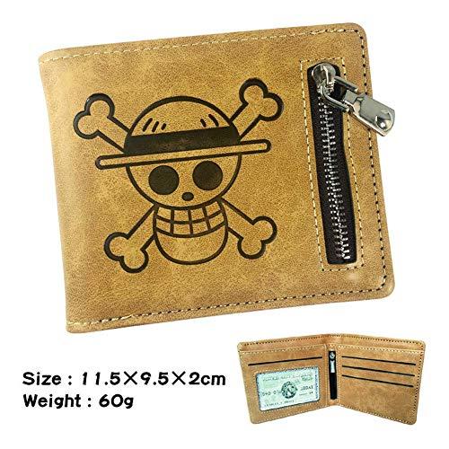 Cartoon King of One Piece Portafoglio da uomo in pelle PU corta pieghevole cerniera portafoglio...