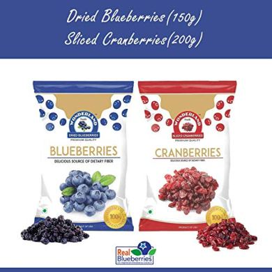 WONDERLAND FOODS (DEVICE) Sliced Berries Combo Pack Dried Cranberries 200 g and Blueberries 150 gm 22