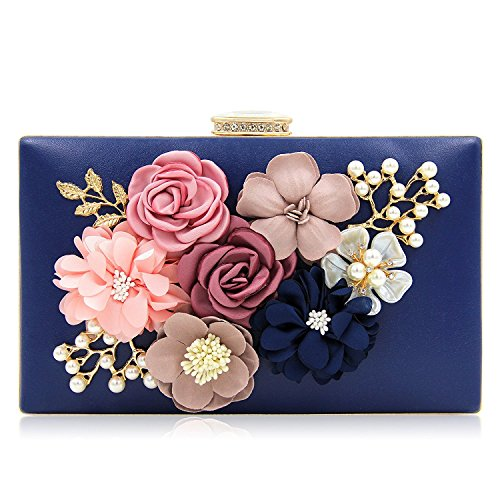 130986f67d3def PARADOX (LABEL) Women Flower Clutches Evening Handbags Wedding Clutch Purse,  Navy