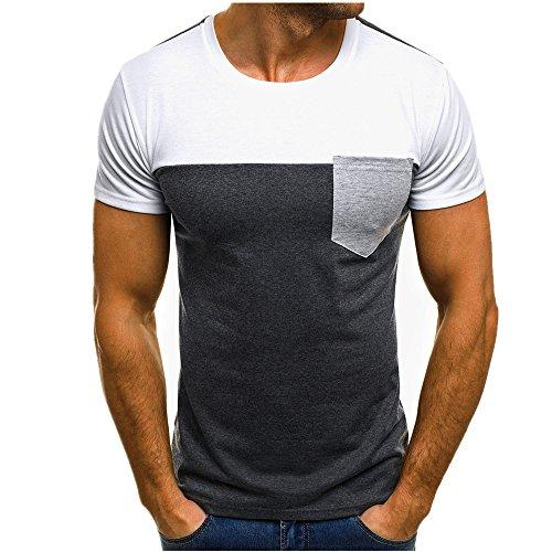 a5e88740206f Homebaby® Camicia Uomo Elegante Tasca Maglietta Manica Corta Casual – T- Shirt ...