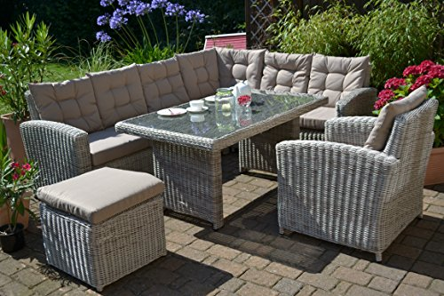 "Ecklounge Manhattan (Ecksofa ""links"" + Tisch + Sessel + Hocker) großes Rattan Gartensofa Lounge Polyrattan sand grau natur für 6-8 Personen"