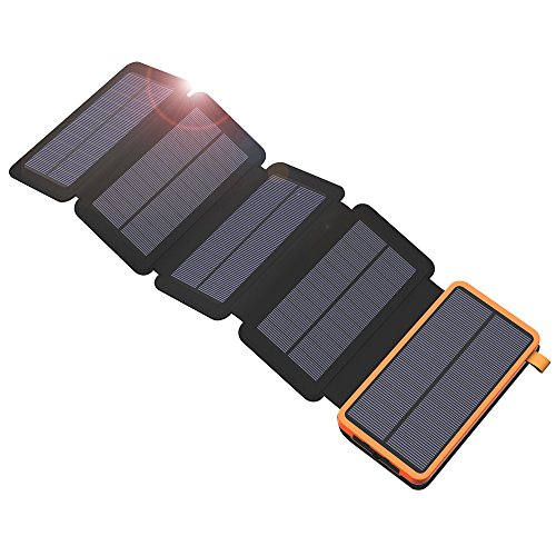 X-DRAGON caricatore solare Power Bank 20000mAh con 5pannelli solari, Dual USB, torcia LED...