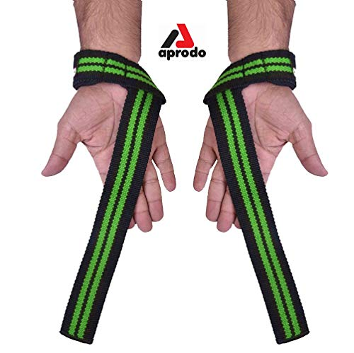 APRODO Weight Lifting Straps + Wrist Protector for Weightlifting, Bodybuilding, MMA, Powerlifting, Strength Training ~ Men & Women (Black and Green)